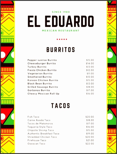 Yellow Green and Red Mexican Art Mexican Menu