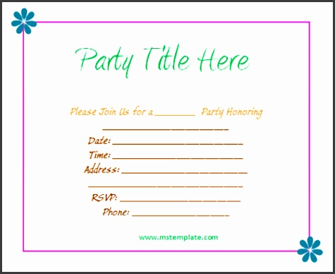 Party Invitation Template Word Birthday Party Invitation Templates Word 5 Original Microsoft Word Template