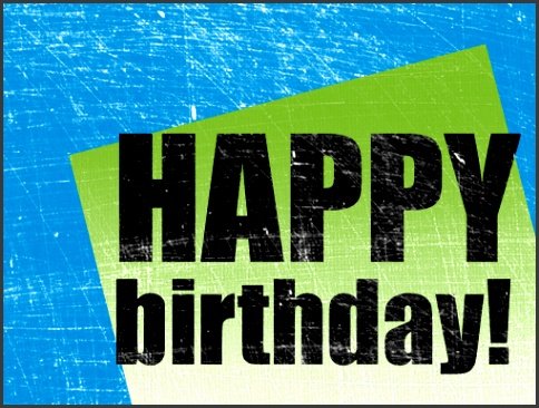 Birthday card scratched background blue green half fold