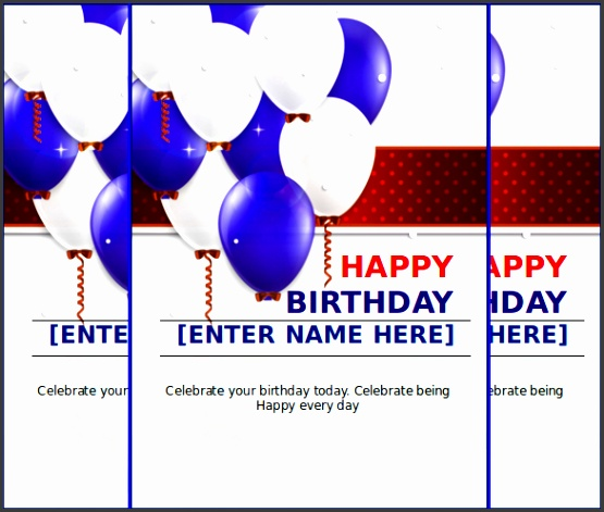 MS Word Format Happy Birthday Celebration Card Free Download