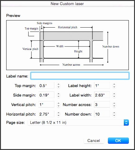 Set and adjust the measurements to match the labels you intend to print