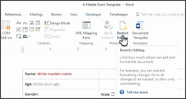 Restrict editing in your document