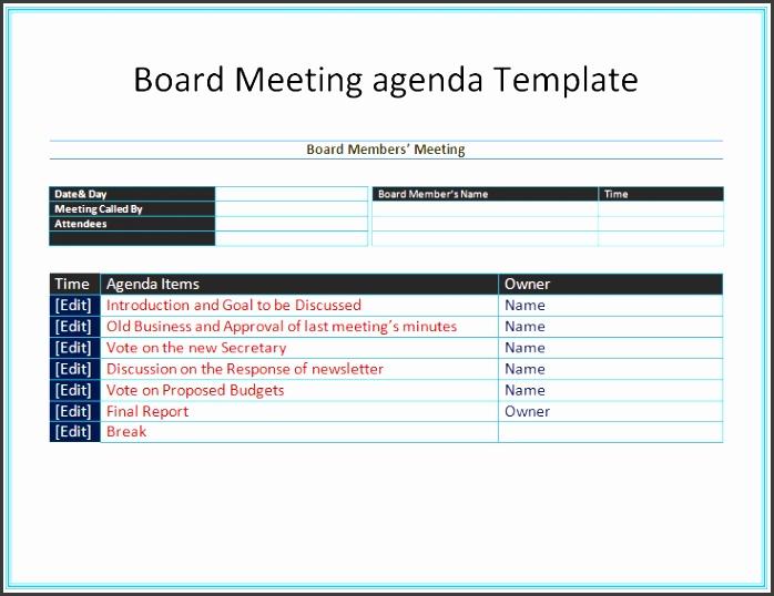 Board Meeting Agenda Template for Microsoft Word