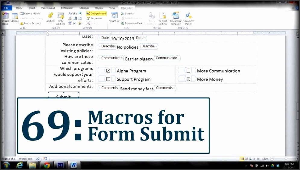 Microsoft Word Create A Submit Form Button Youtube How To Fillable In 2007 Maxresde How To