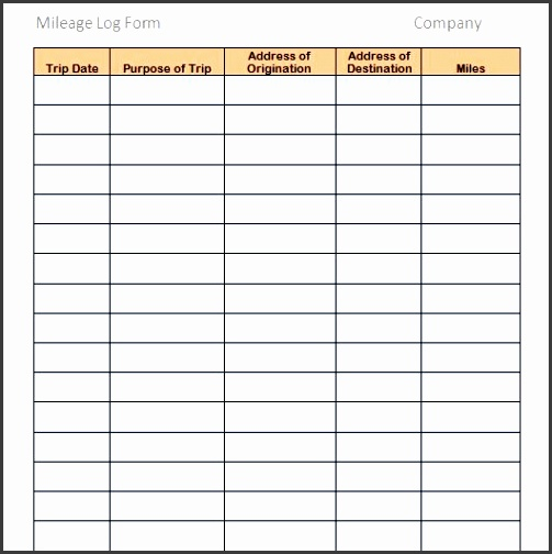 Printable Mileage Log Template 02