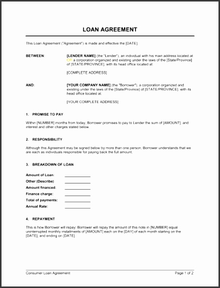 money lending agreement template loan agreement template sample form biztree