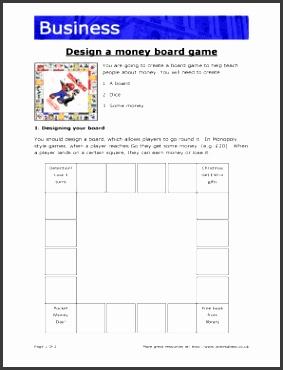 Design a money board game