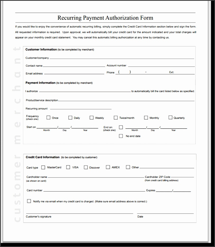 Credit Card Authorization Form Template Word Best Quality