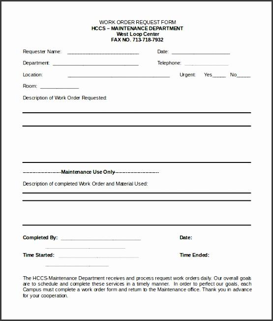 Work Order Form Template Microsoft Word 2012