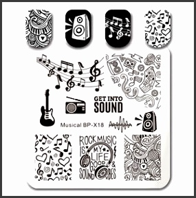 Image is loading BORN PRETTY Square Nail Art Stamp Template Musical