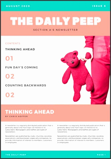 Pink and Green Newsletter Newsletter
