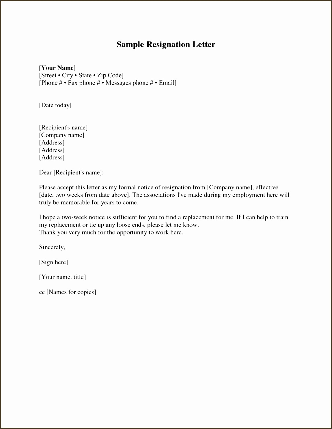 Format Two Weeks Notice Letter Resignation Letter Example with 2 Printable Two Week Notice Letter Resignation