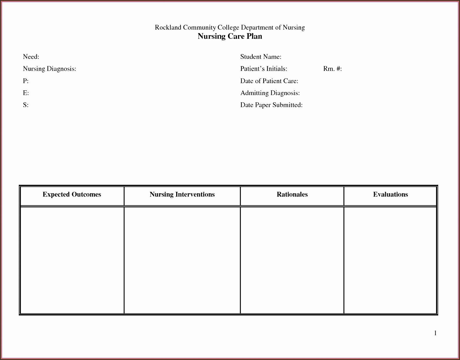 nursing care plan template nursing care plan template