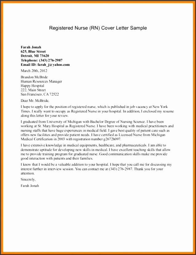 8 Sample Nursing Cover Letter Incidental Report Resume New Grad Example Application As Volunteer Nursing