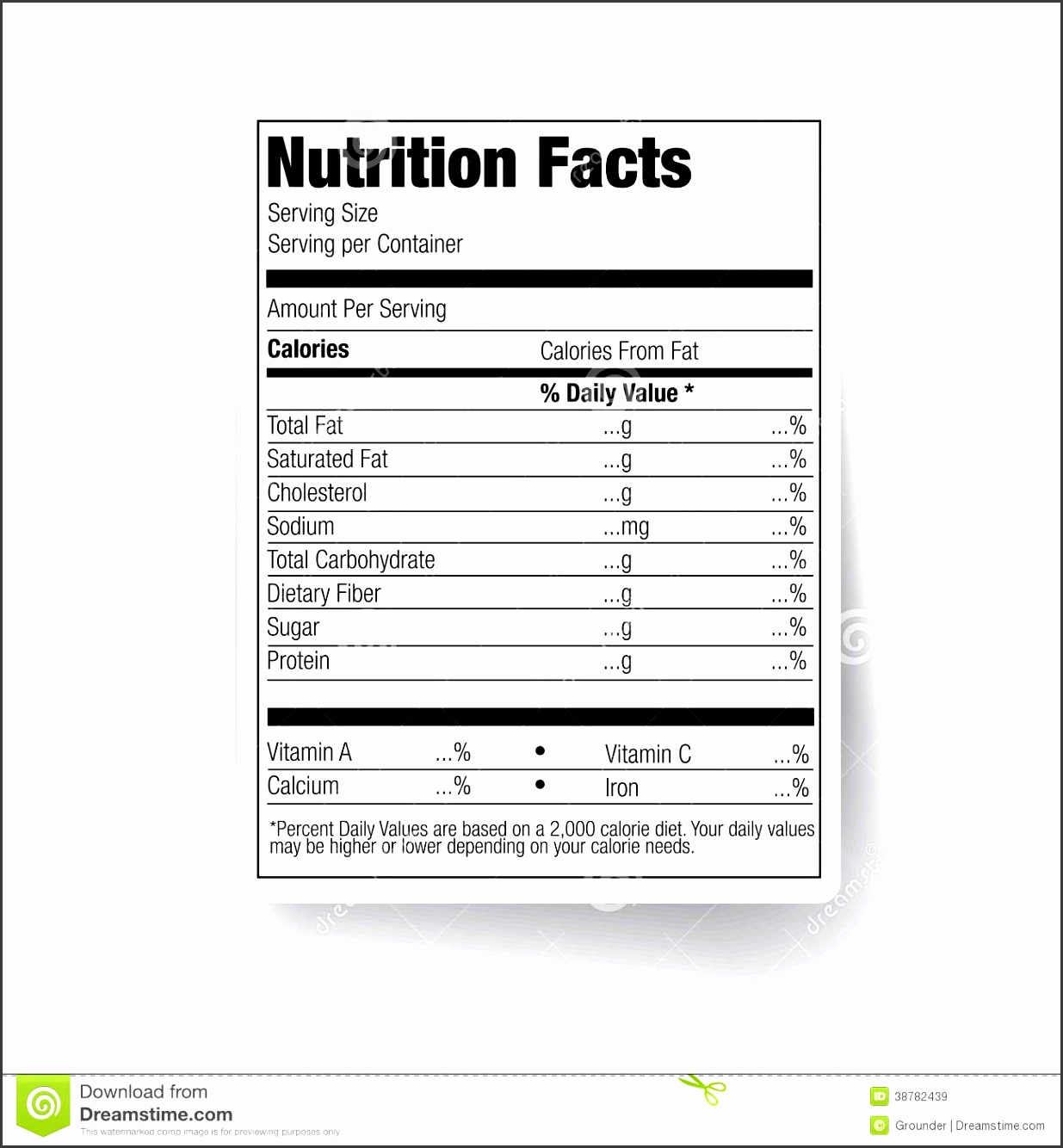 Nutrition Facts Food Label Stock Vector Image