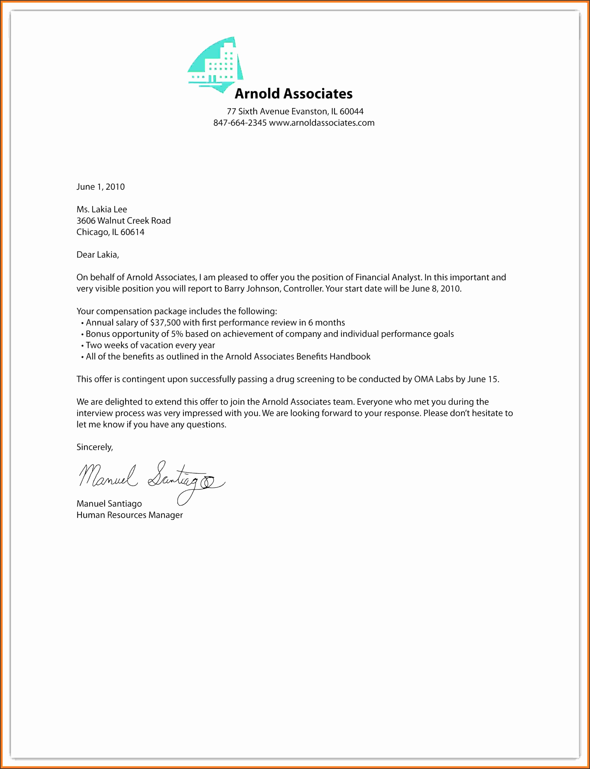 10 fer Employment Letter Marital Settlements Information