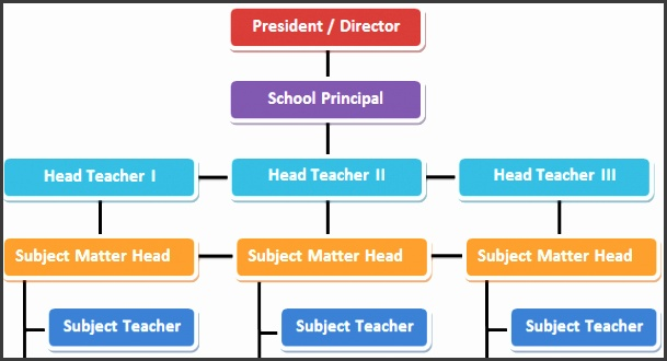 sample organizational chart created manually by using rectangular shapes and lines