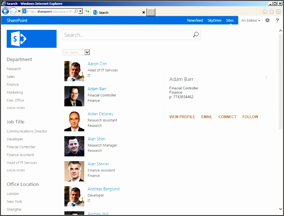 sharepoint people directory