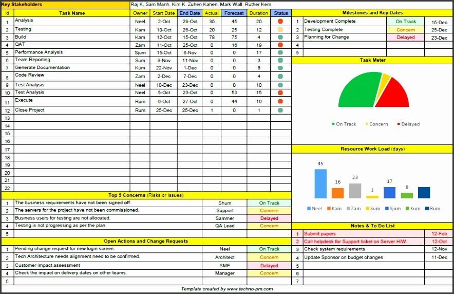 e Page Project Manager Excel Template Free Download