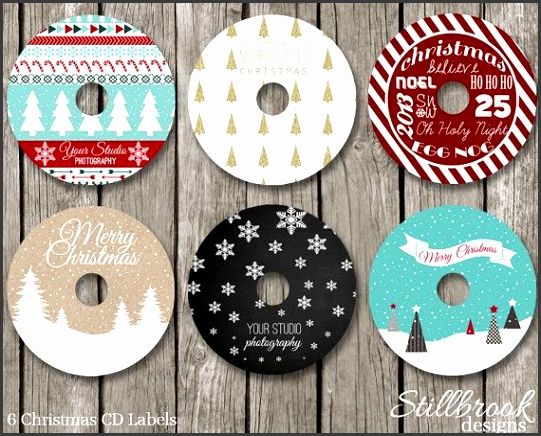 Christmas CD DVD Label Template Set Xmas Holiday CD Stickers for graphers CLCS1