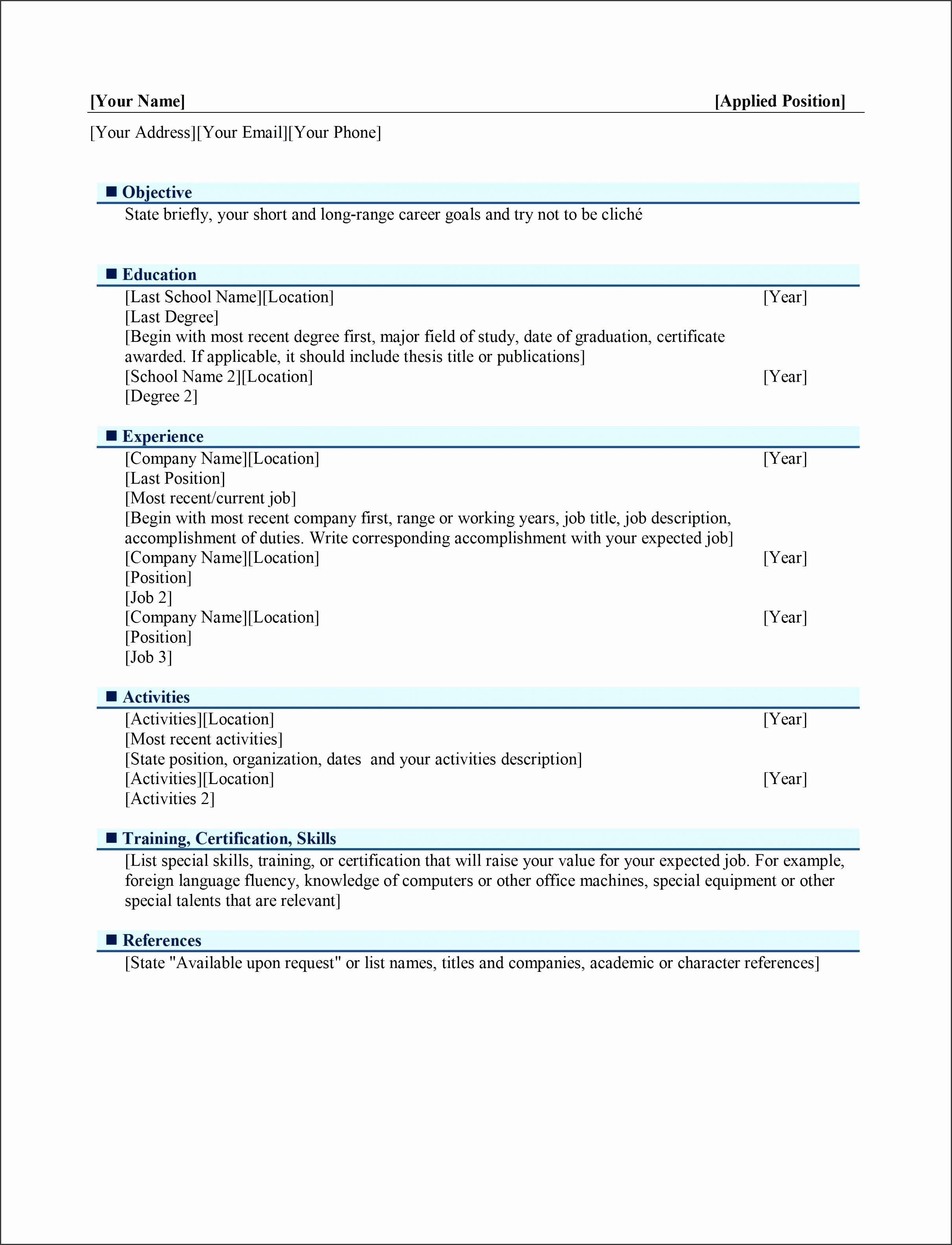 Resume Templates Open fice