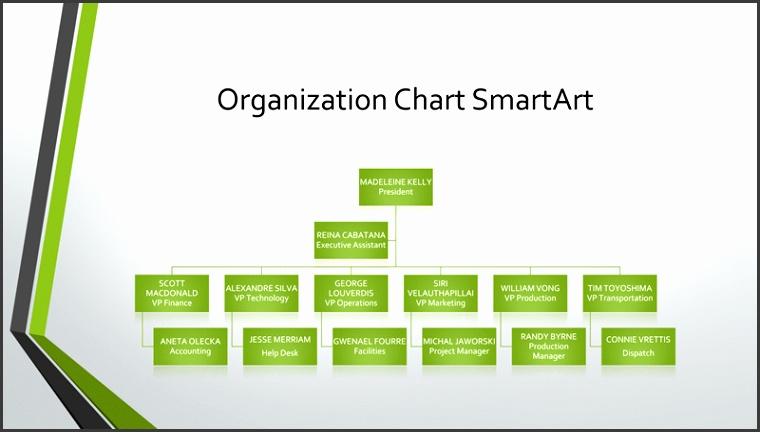 Organizational chart gray green widescreen