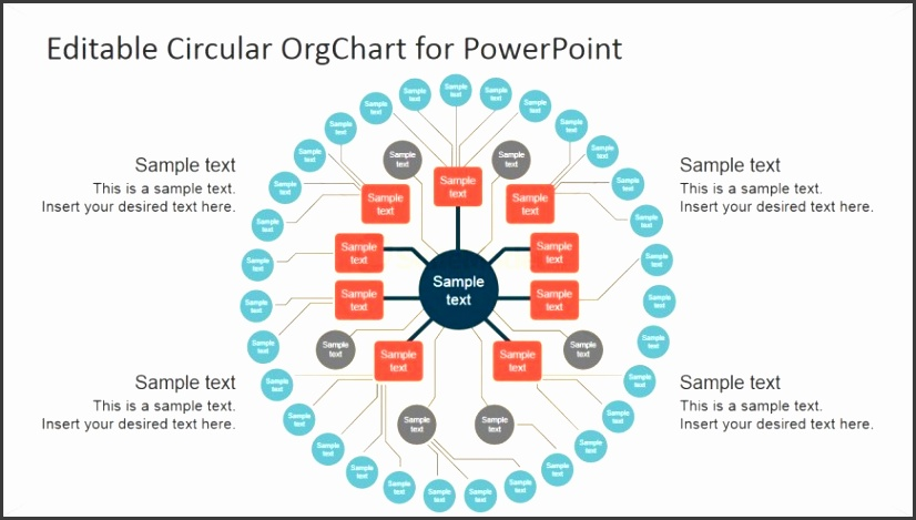 Flat Design Circular Org Chart Template