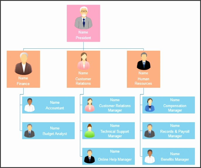 Small business pany functional org chart template