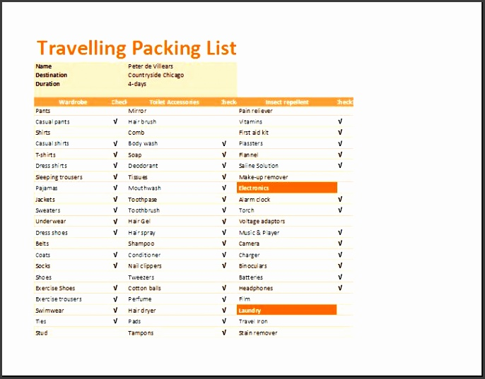Preview and Details of Template Printable Travelling Packing List