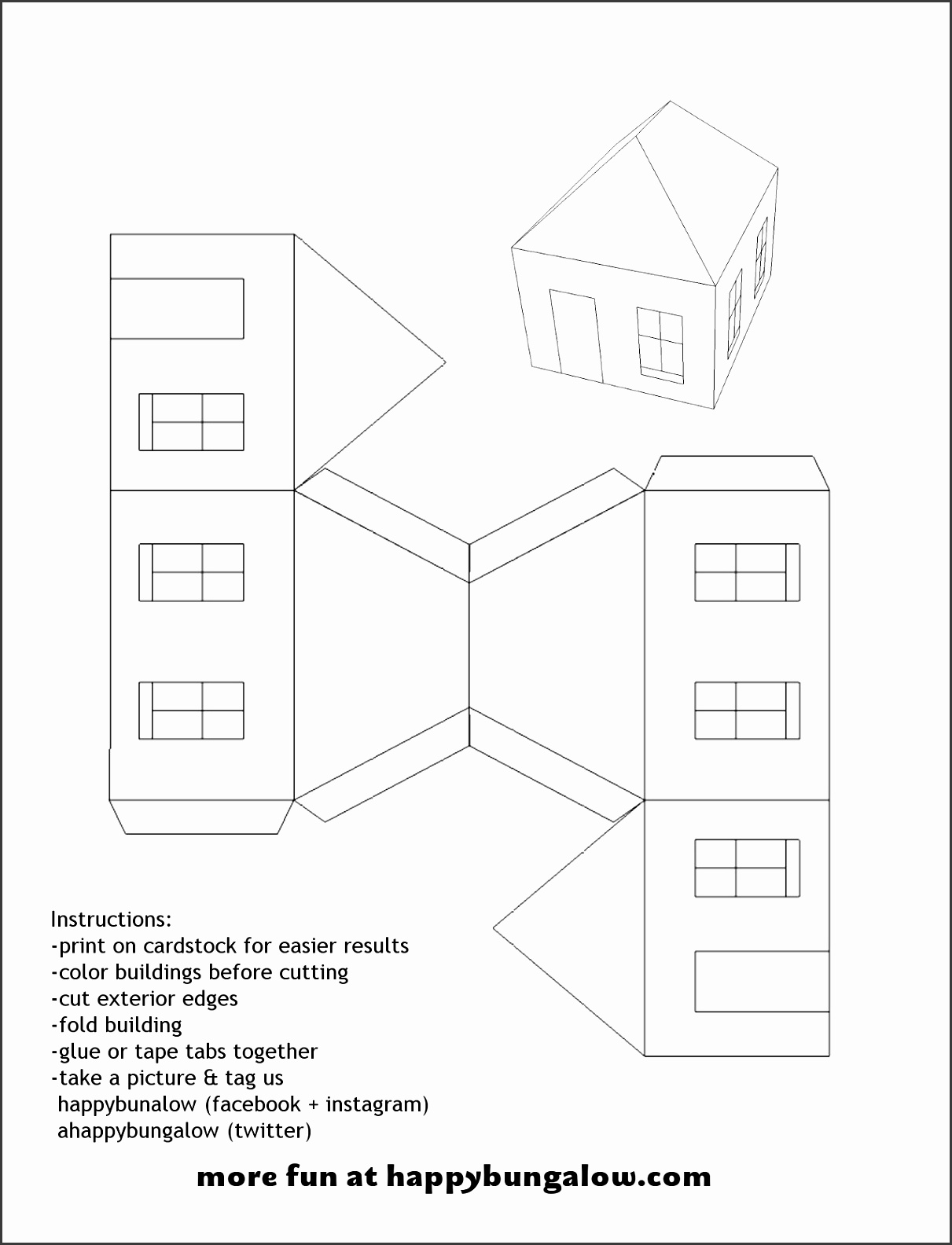 5 Paper House Template - SampleTemplatess - SampleTemplatess