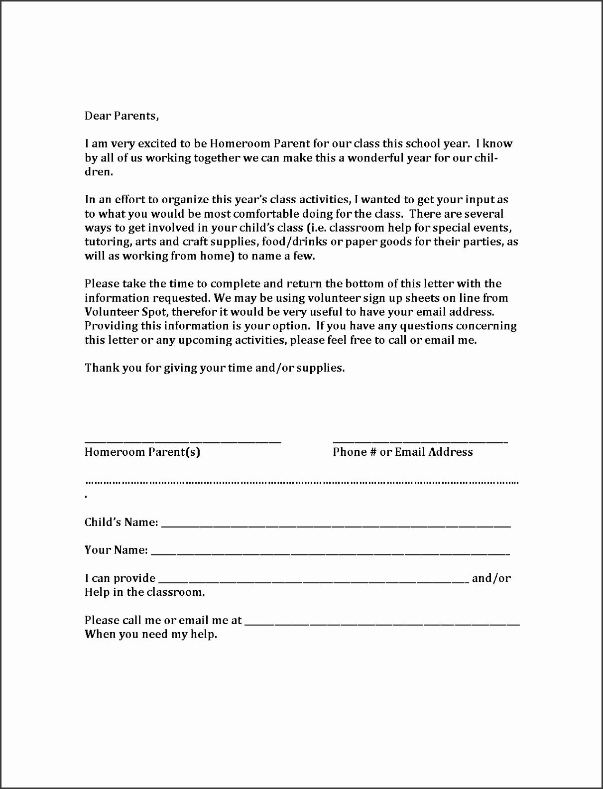 HRP Volunteer Sample Letter To Parents5