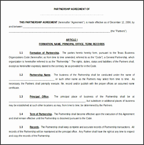 Partnership Agreement Template Free Word Format Download
