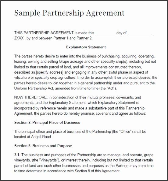 Nice Partnership Agreement U2013 8 Free Samples Examples Format U2026