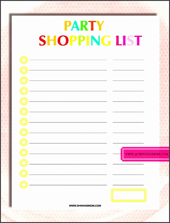 party shopping list 1