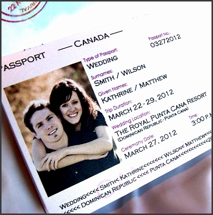 Back To Article → Modification and bination Passport Wedding Invitations