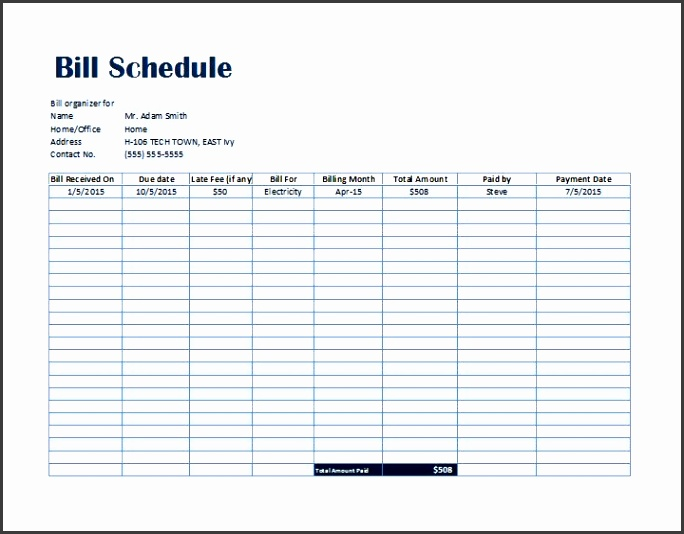 Bill Payment Schedule