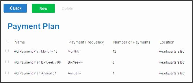 PaymentPlans List