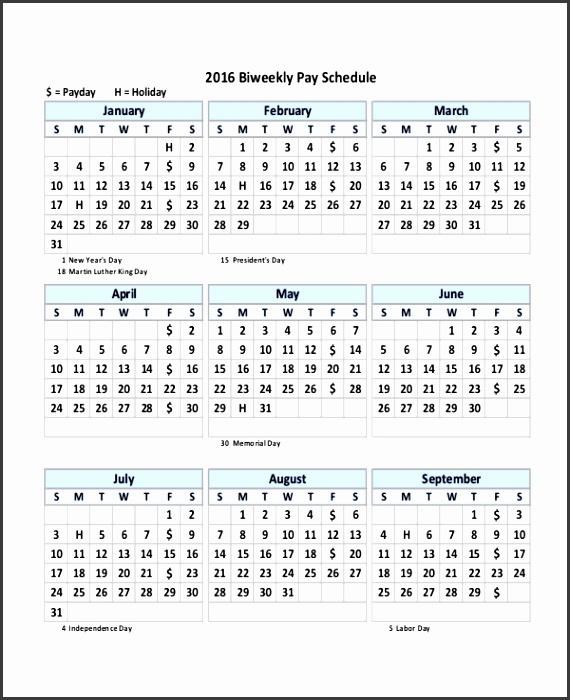 Biweekly Payroll Schedule Calendar Template