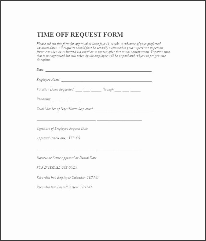 Printable time off request form template 02
