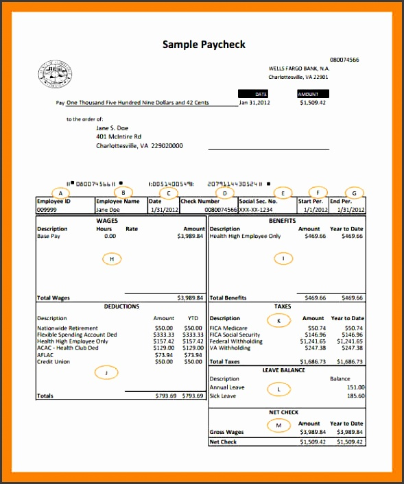 payroll template Wells Fargo Bank Payroll Check Template PDF