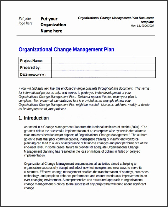 organizational change management plan