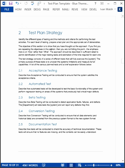 Test Plan Template MS Word Red Theme