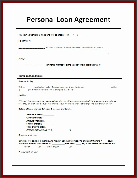 What s More Picture showed above is Personal Loan Agreement Fill in Template For Money Lending Between Friends