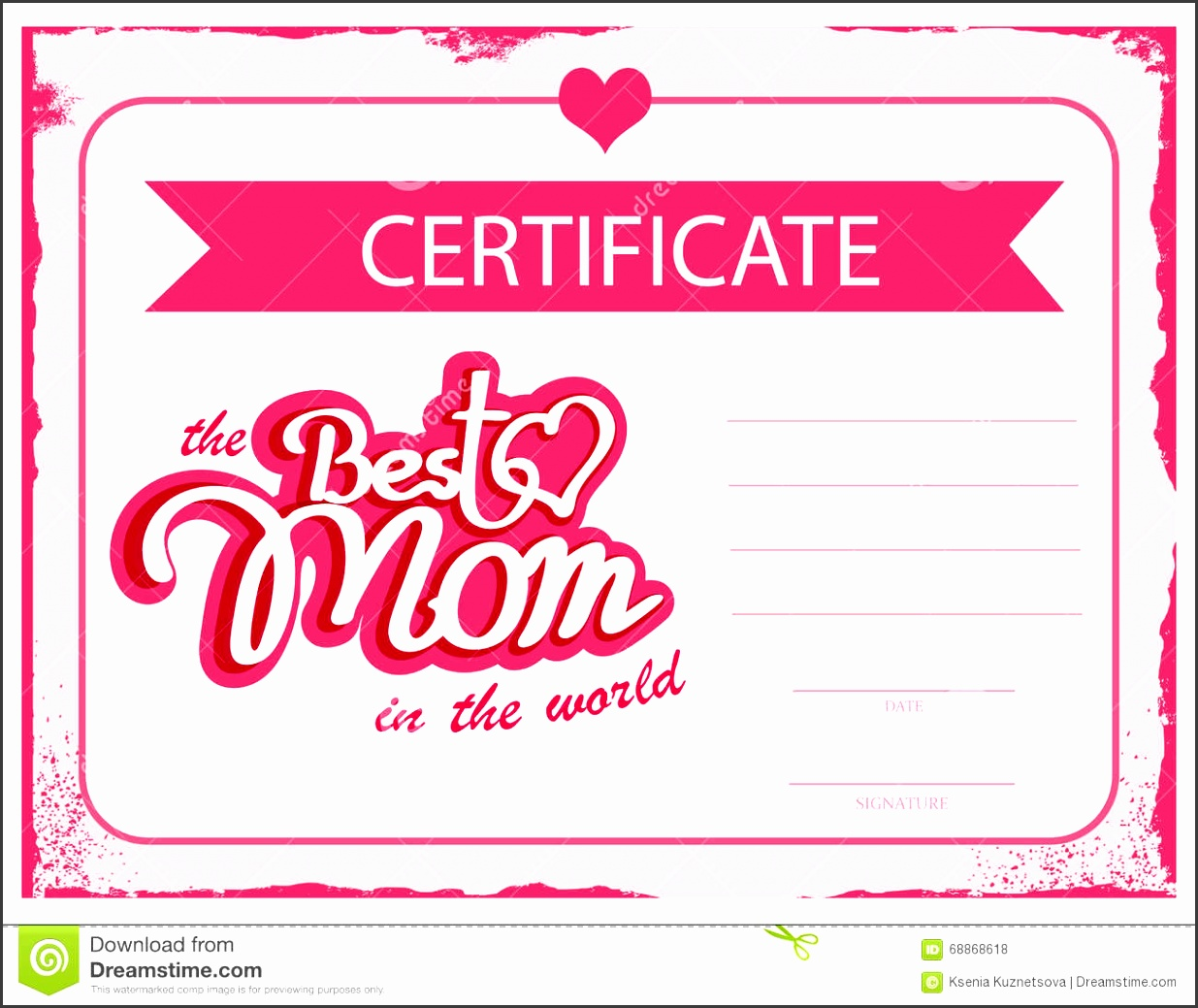 Template vector certificate Best mom in the world A t certificate for mothers day A diploma template