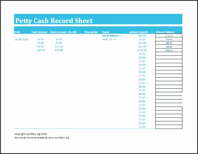 petty cash record sheet