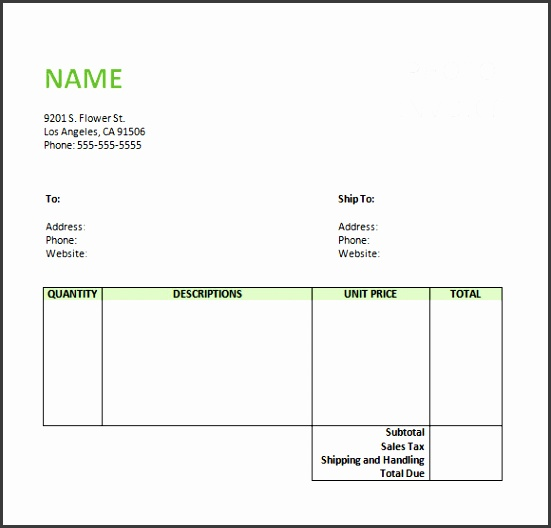 Sample graphy Invoice Template