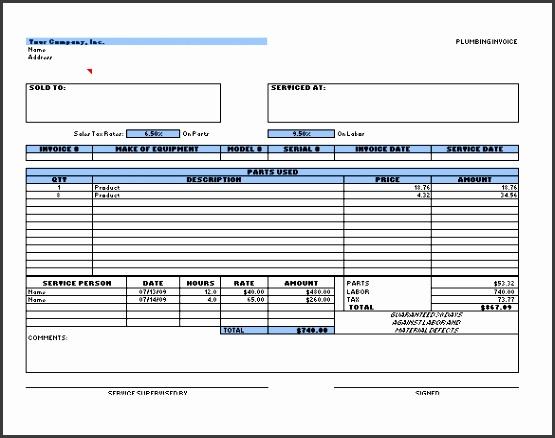Plumbing Receipt Excel Format Free Download