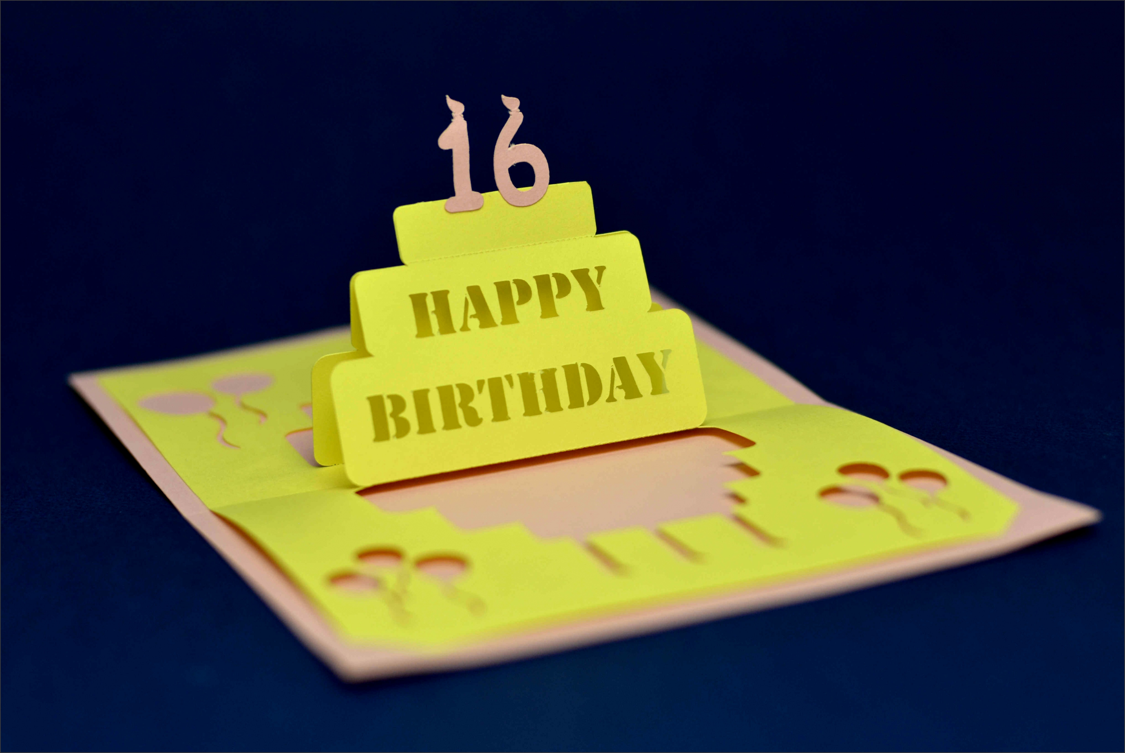 Birthday Pop Up Card Simple Cake Version 2 Tutorial and Template