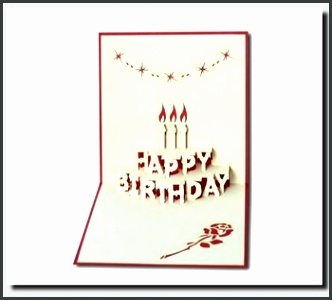 Birthday cake in 3D pop up greeting card