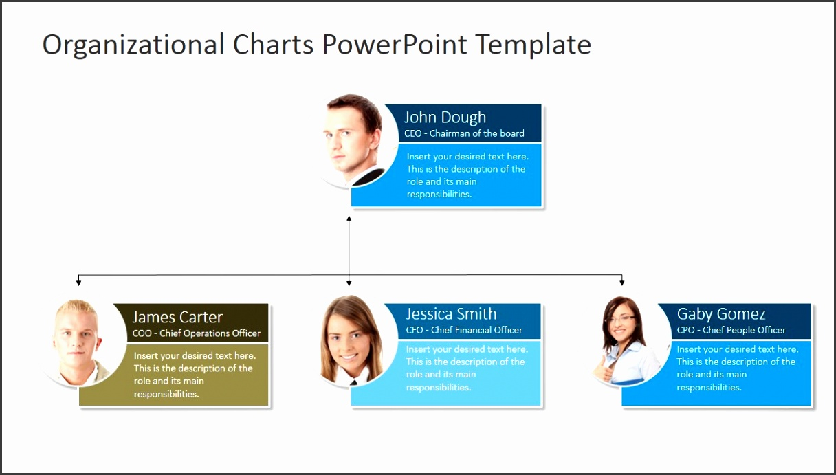 Org Chart with and Text Placeholders PPT